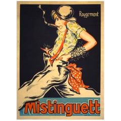 Original 1920s, Full-Size French Mistinguett Poster by Rougemont