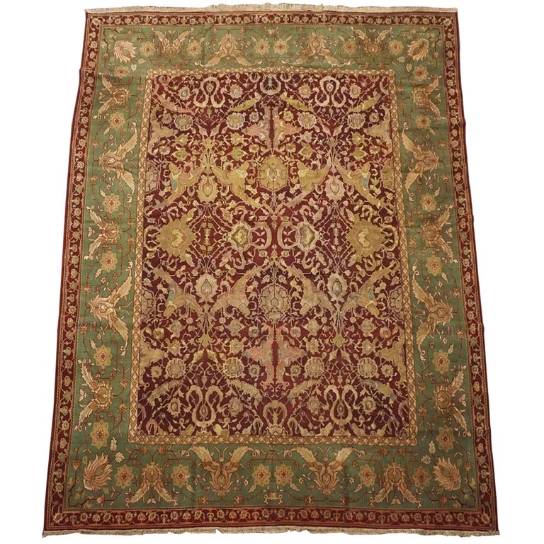 Antique Cotton Agra Rug With Abrash Circa 1900 For Sale: Antique Burgundy Indian Agra Rug, Circa 1890 For Sale At