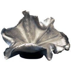 Metallic Silver Leaf Hand Molded Concrete Flora Sculpture by Birgit Piskor
