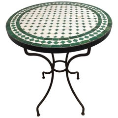 Moroccan Mosaic Tile Bistro Table on Iron Base