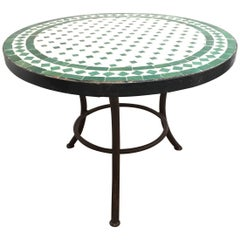 Moroccan Mosaic Tile Outdoor Side Table on Low Iron Base Green and White
