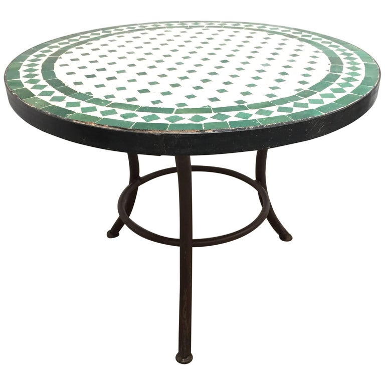Moroccan Mosaic Tile Outdoor Side Table On Low Iron Base Green And White For