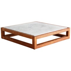 French Modern Marble and Oak Coffee Table