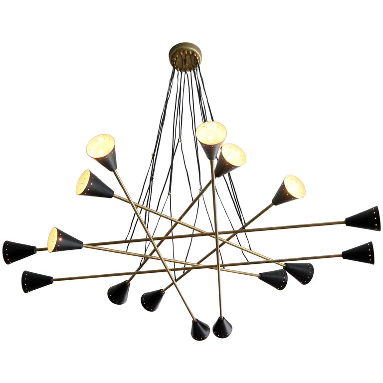 Italian Sixteen Shade Stilnovo Style Chandelier For Sale