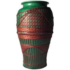 Large Awaji Art Nouveau Ceramic Form Vase with Bamboo Weaving Design