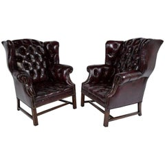 Pair of Chesterfield Tufted Leather Wingback Chairs