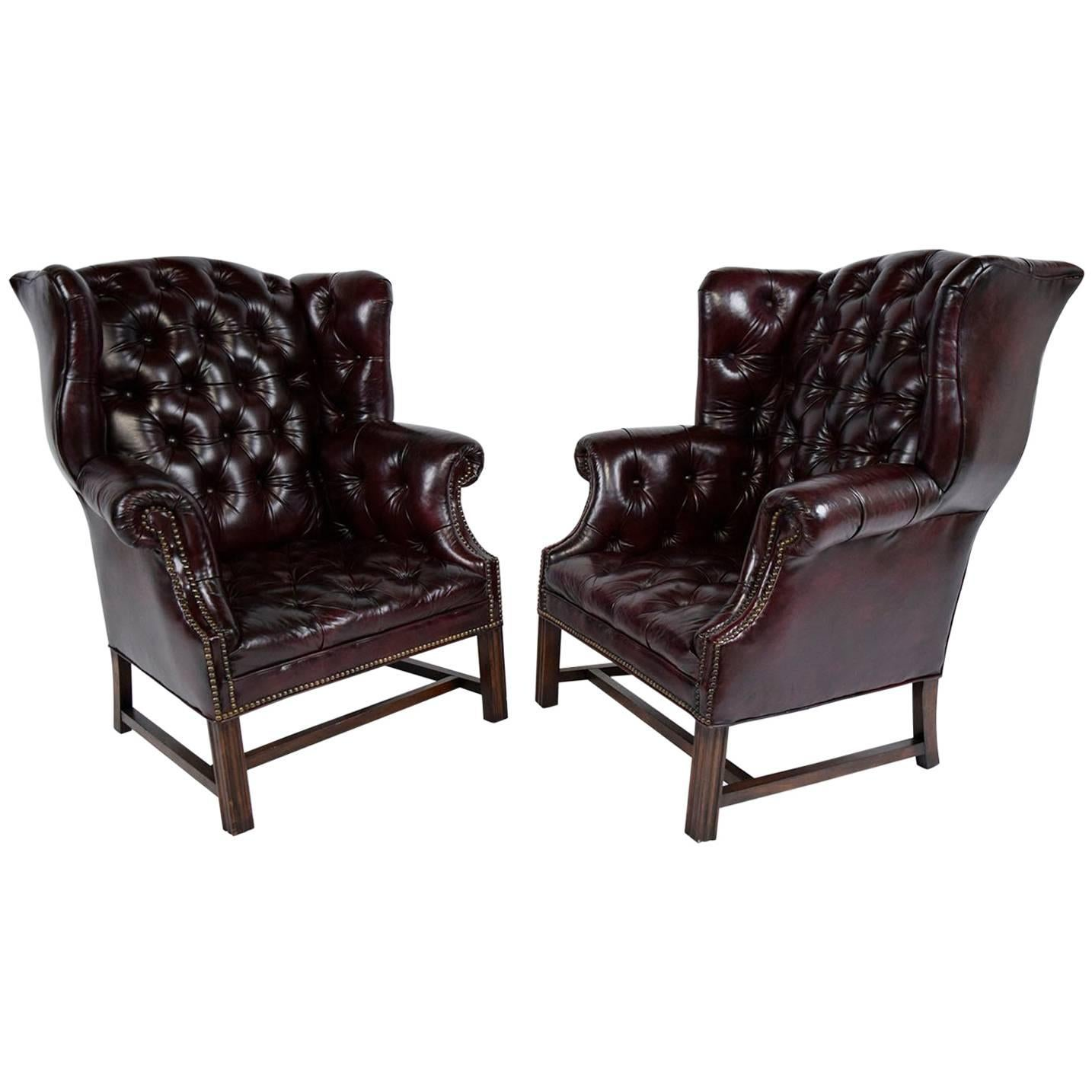 Beau Pair Of Chesterfield Tufted Leather Wingback Chairs