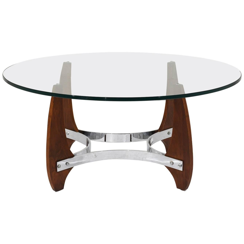 Mid Century Modern Wood & Chrome Coffee Table