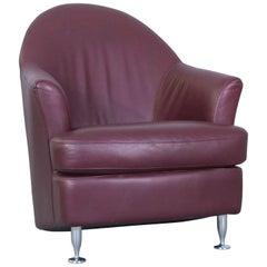 Natuzzi Designer Leather Armchair Red Modern