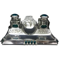 Amazing Art Nouveau Silver Plated Inkwell, circa 1900