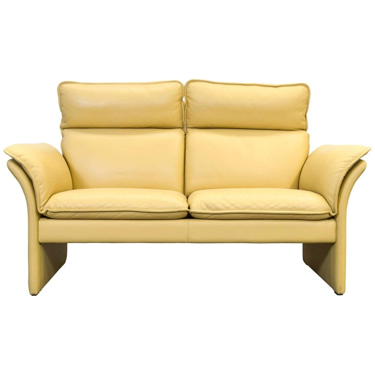 Dreipunkt Designer Leather Sofa Mustard Yellow Two Seat Couch Modern For Sale At 1stdibs