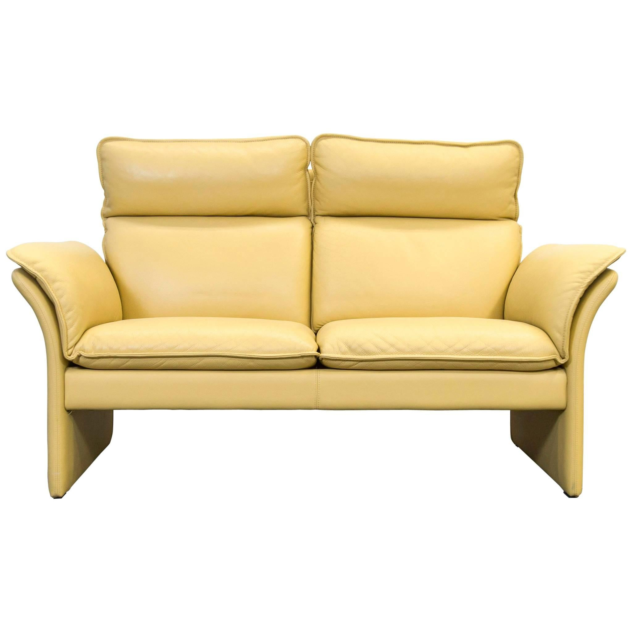 Dreipunkt Designer Leather Sofa Mustard Yellow Two Seat Couch Modern For  Sale