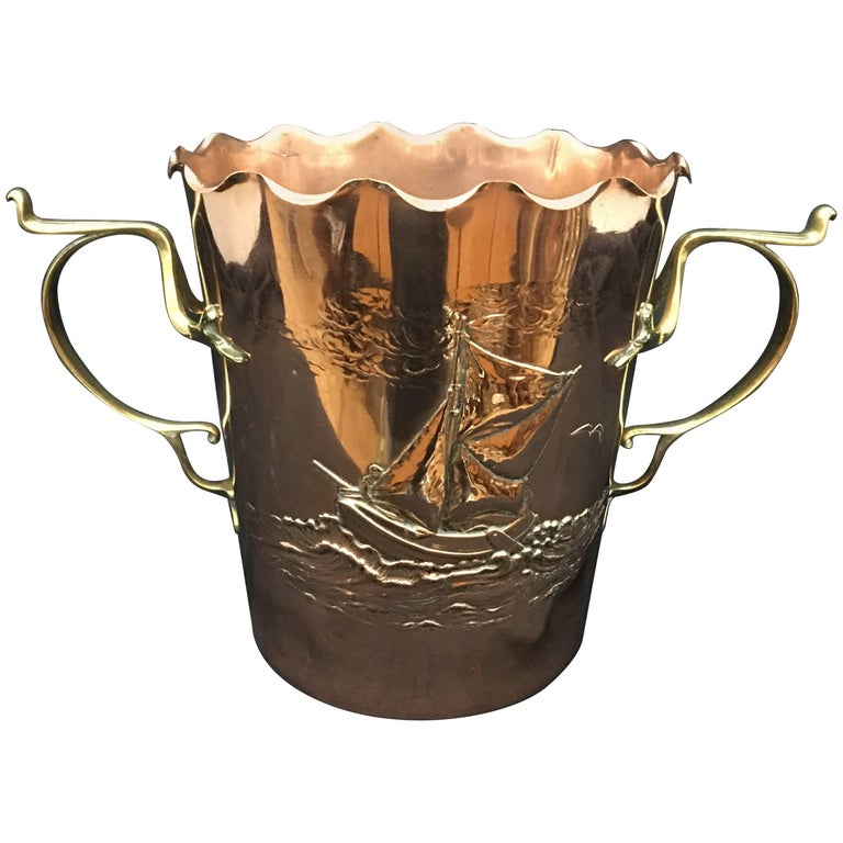 Art Nouveau Copper and Brass Wine Cooler by Carl Deffner For Sale