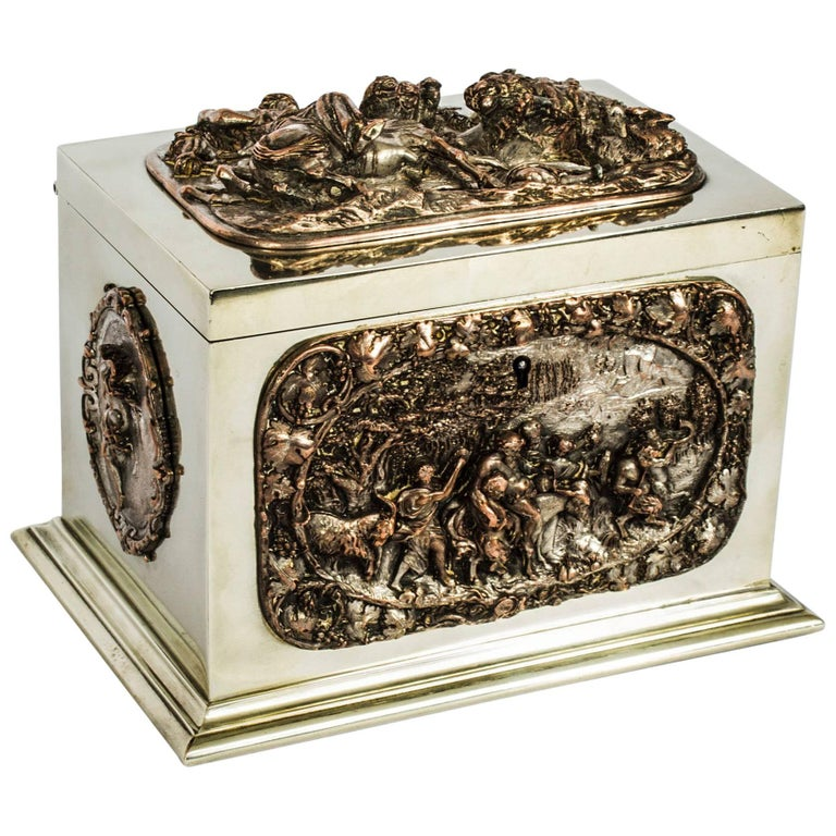 19th Century French Silvered Copper and Brass Jewelry Casket For Sale