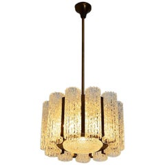 Barovier Toso Murano Ice Glass Chandelier with brass frame, 1960