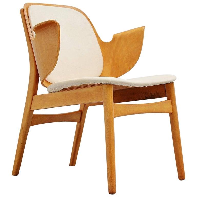 Hans Olsen Birch Plywood Lounge Chair Bramin Denmark, 1950