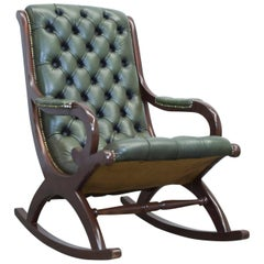 Chesterfield Leather Rockingchair Green Oneseater Chair Vintage Retro Wood