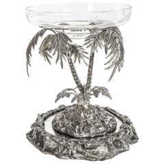 Antique Victorian Silver Plated Palm Tree Centrepiece Mirrored Base, circa 1860