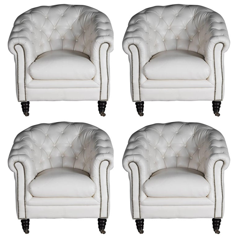 Set Of Four Chesterfield Club Armchairs Lounge Armchairs Italy For