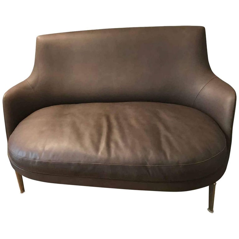 "Sofa ""Guisco"" by Manufacturer Flexform in 100% Genuine Leather and Metal"