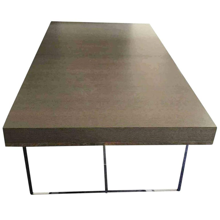 dining table athos by manufacturer b b italia in chromed steel and oak for sale at 1stdibs. Black Bedroom Furniture Sets. Home Design Ideas