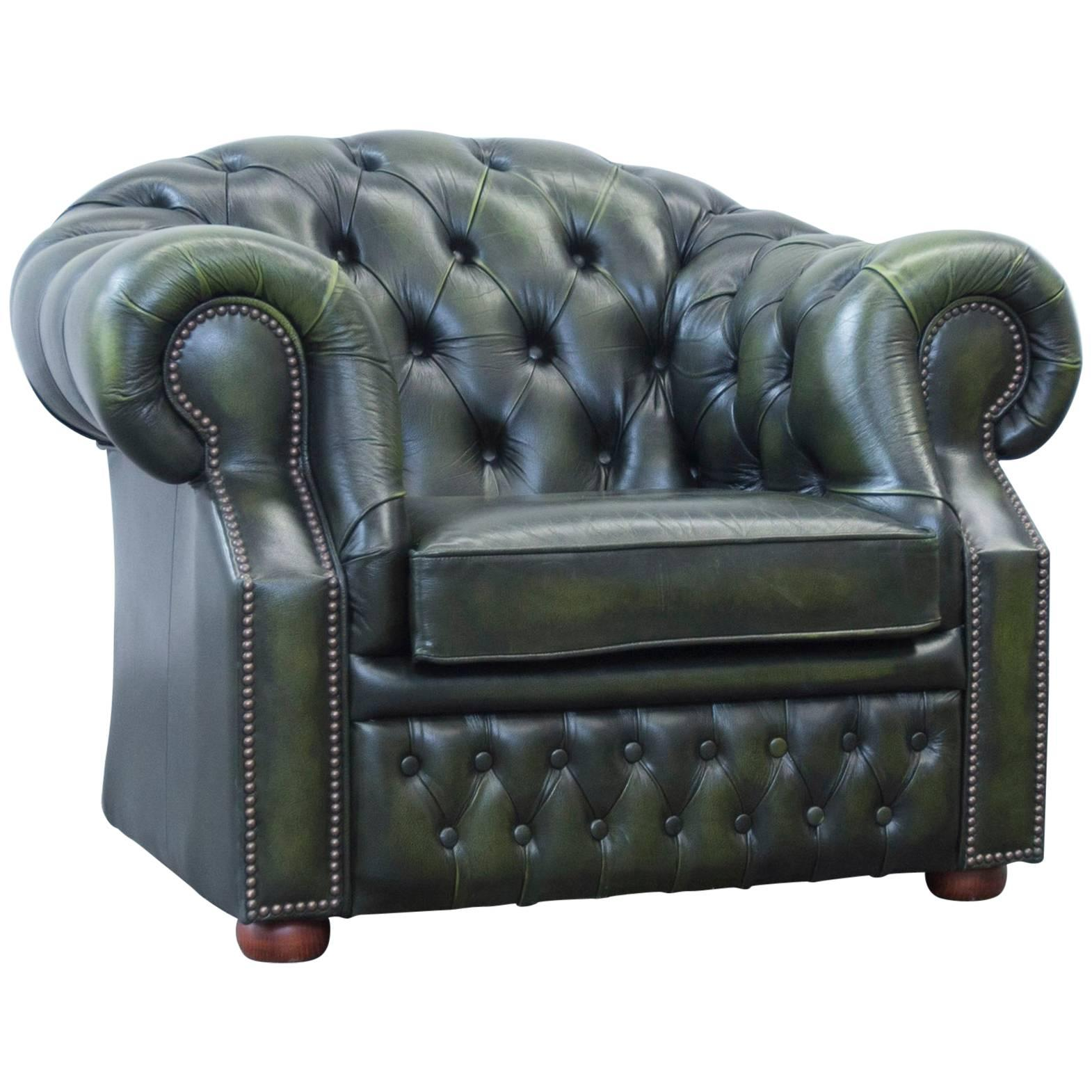 Centurion Chesterfield Armchair Green Leather One Seat Chair Vintage Retro 1