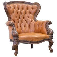 Chesterfield Leather Armchair Orange Brown Wood Vintage Retro