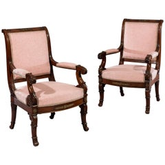 Pair of Empire Period Carved Mahogany Bronze-Mounted 'Fauteuils' Armchairs