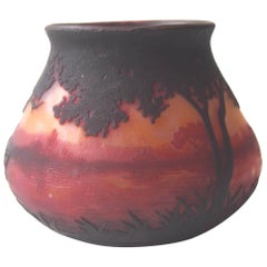 Art Nouveau Daum Cameo Landscape Vase with Extraordinary and Unusual Provenance