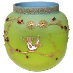 Loetz Victorian Bohemian Alpengruen-(Blue/GreenGlass) Vase Enamelled With Birds