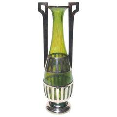 Loetz Crete Papillon Vase with Chrome Mounts