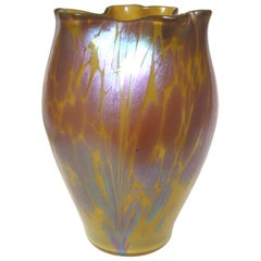Art Nouveau Loetz Metalic Yellow Phaenomen Medici Vase