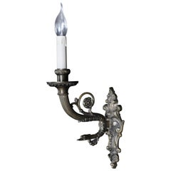 Old Bronze / Brass Wall Lamp 2nd Period Empire, circa 1900