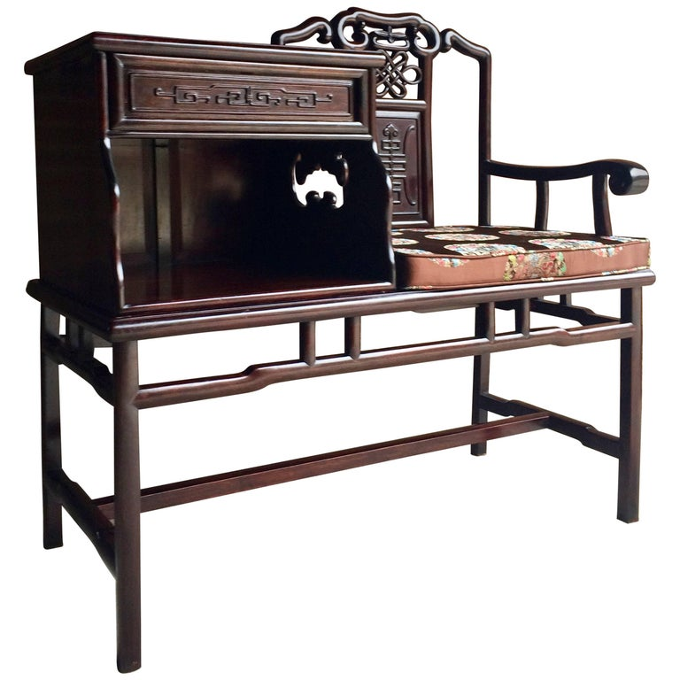 Chinese Telephone Seat Hall Bench Solid Teak Ming Style