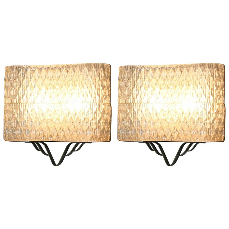 Pair of Wall Sconces with Brass, 1950s