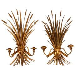 Pair of Italian Gilt Metal Wheat Sheaf Wall Sconces