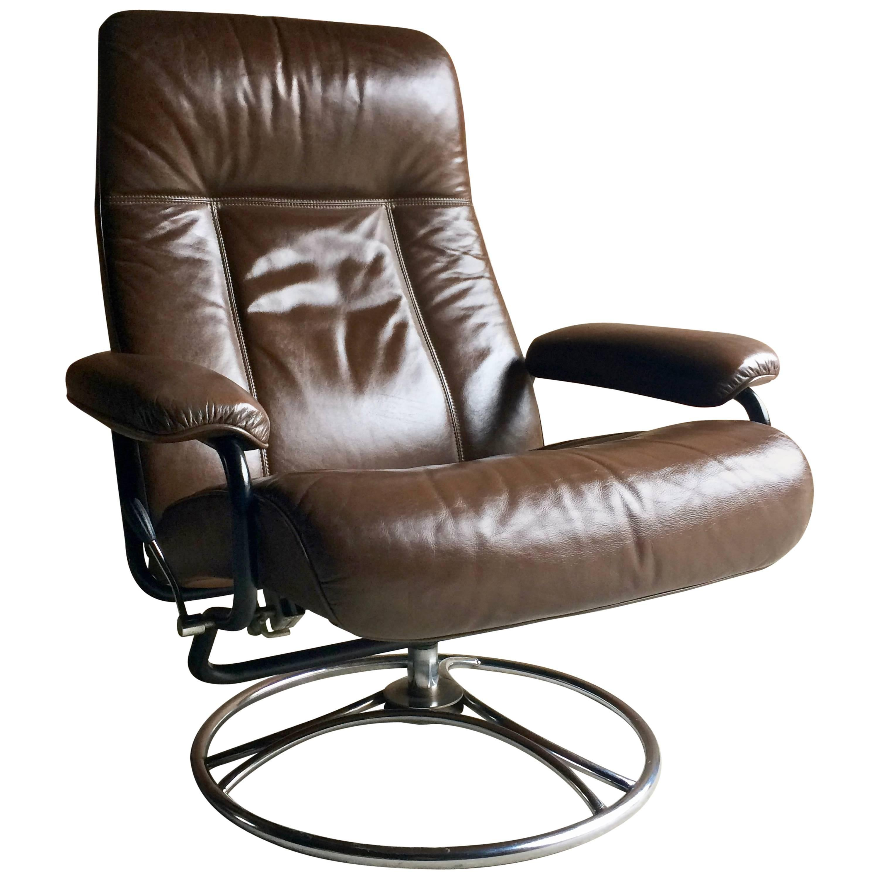 Swedish Brown Leather Armchair Lounge Reclining Swivel Söderbergs, 1970s