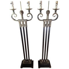 Majestic Lions Head MCM Pair of Floor Lamps