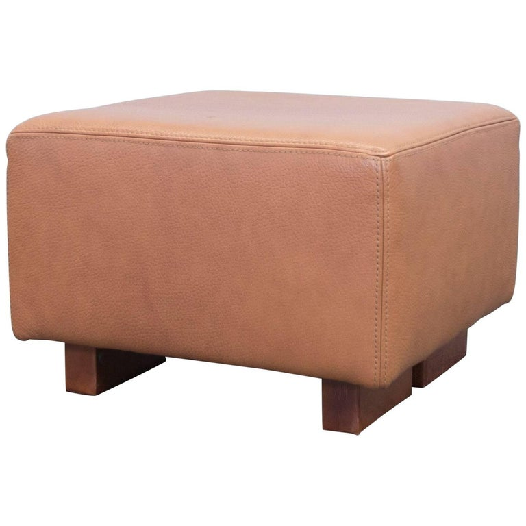 Designer Leather Footstool Terracotta Brown Pouf Couch