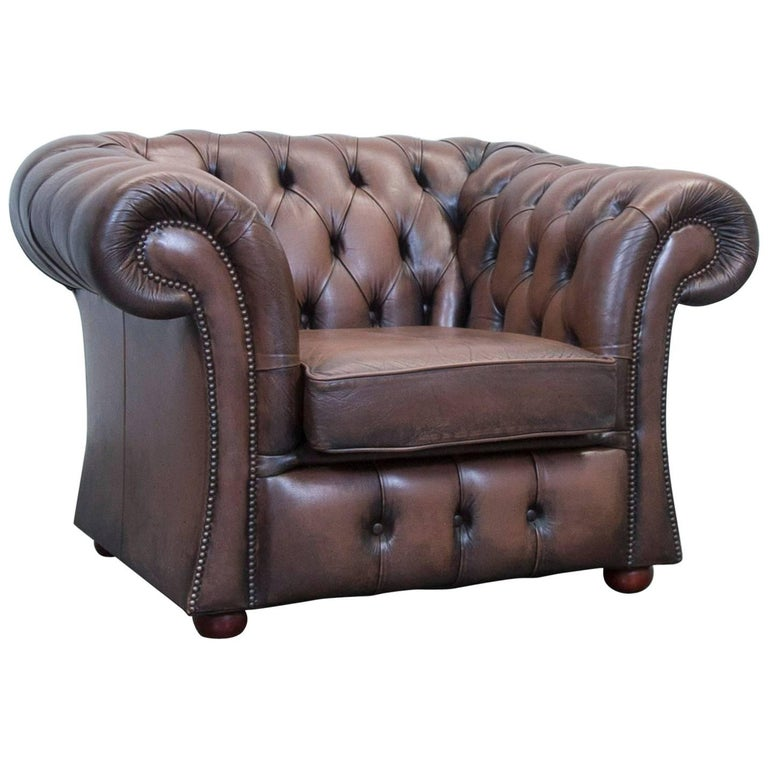 chesterfield leather armchair brown oneseater chair vintage retro at 1stdibs. Black Bedroom Furniture Sets. Home Design Ideas
