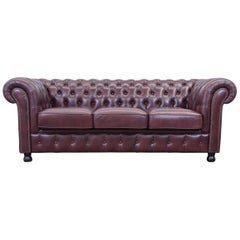 Chesterfield Leather Sofa Bordeaux Red Three-Seat Couch Vintage Retro