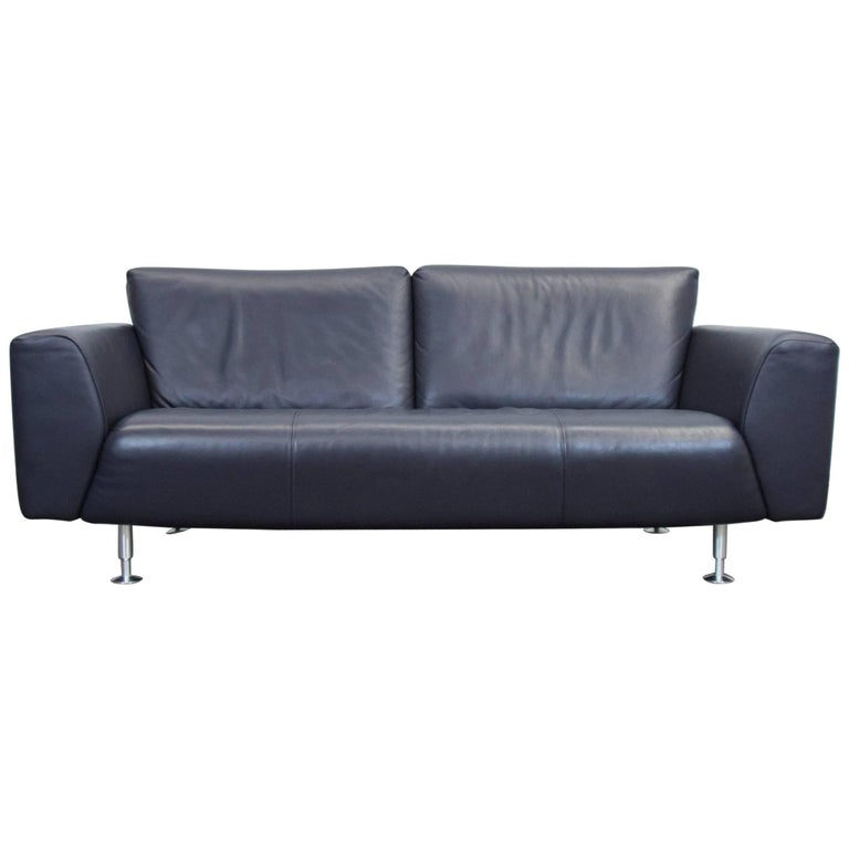 Rolf benz designer leather sofa black blue three seat for Blue sofas for sale