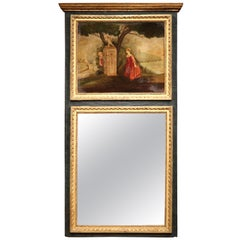 19th Century French Carved Painted and Gilt Trumeau Mirror with Bucolic Scene