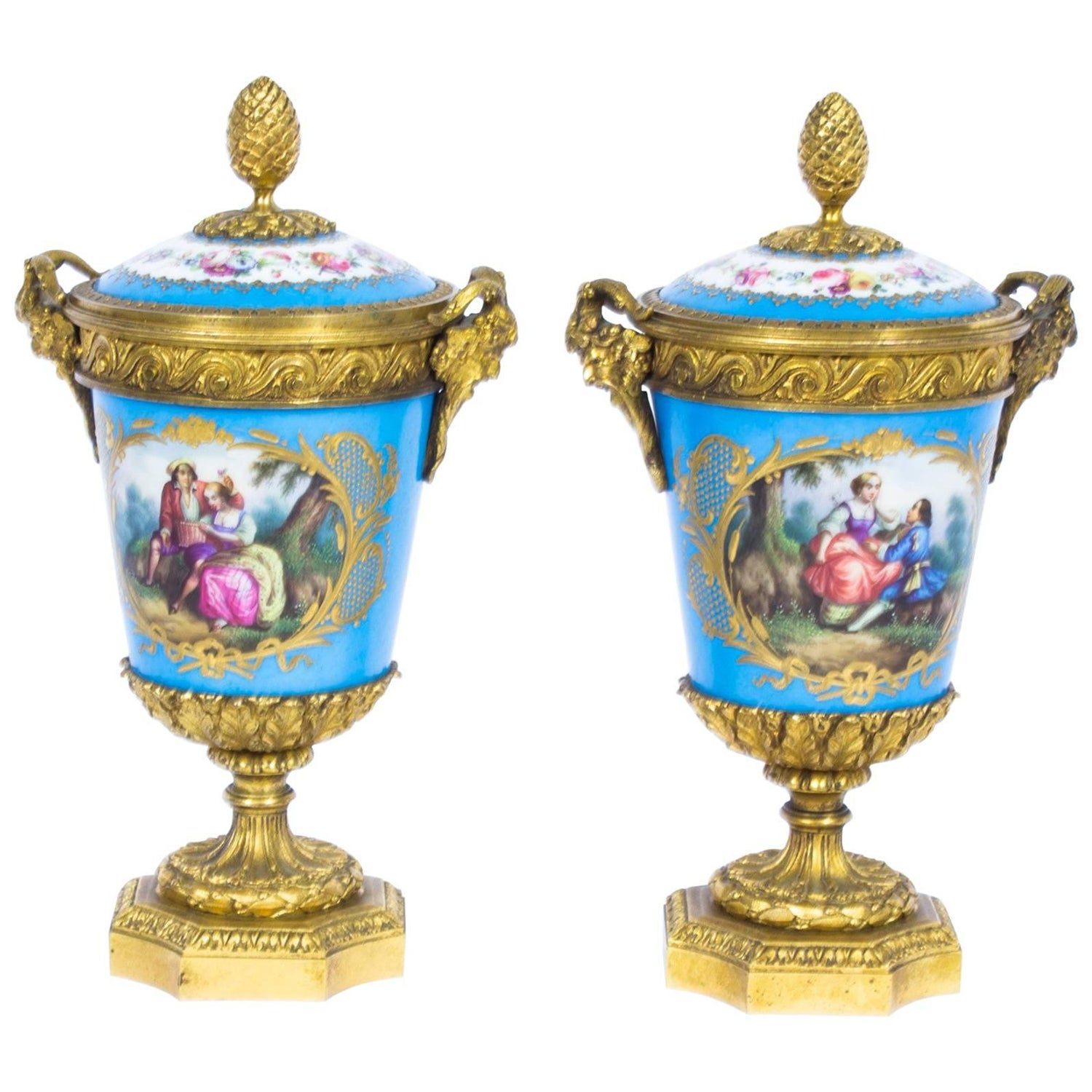 19th century pair of french ormolu mounted svres lidded urns 19th century pair of french ormolu mounted svres lidded urns vases for sale at 1stdibs reviewsmspy