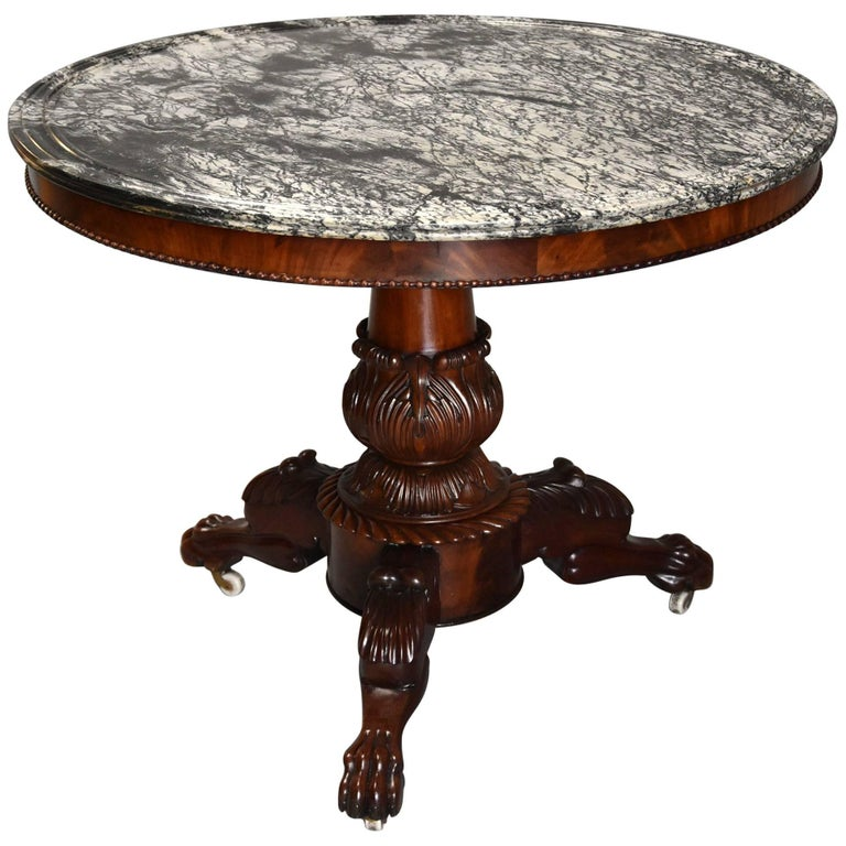 19th Century French Mahogany Gueridon Table with Original Marble-Top