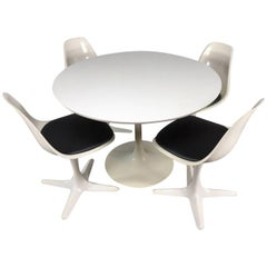 Saarinen Style Tulip Table and Propeller Dining Chairs by Burke