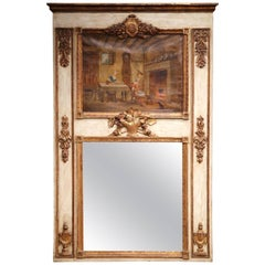 19th Century, French, Louis XVI Painted and Gilt Wall Trumeau Mirror