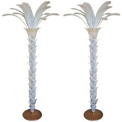 Pair of Spectacular Vintage Murano Opaline Glass Palm Tree Floor Lamps
