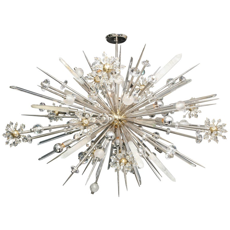 Custom Rock Crystal and Austrian Crystal Sputnik Chandelier For Sale