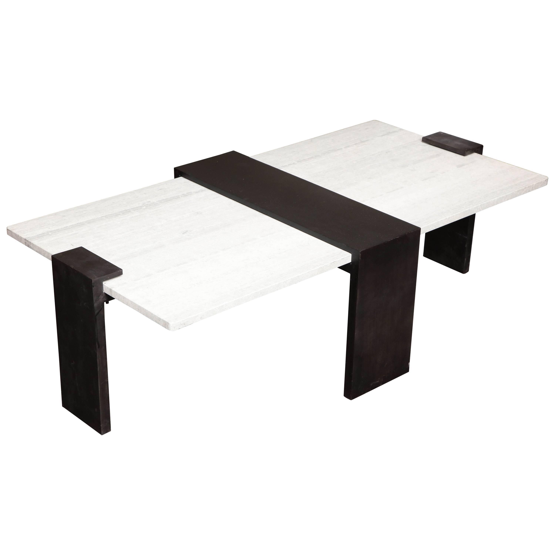 Custom Bronze Legs and Gray Woodgrain Stone Top Cocktail Table